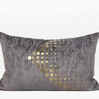 "Dark Gray with Gold Textured Dots Arrow Pattern Pillow 14""X22"""
