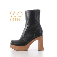 "Black Platform Boots Size 10 Vintage Steve Madden Ankle Boot / 90's Chunky Shoes 4.5"" High Heeled Leather Women's Size US 10 / UK 8 / EUR 40"