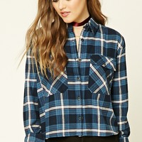 Boxy Plaid Flannel Shirt