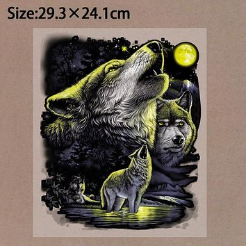 Pyrography 29*24cm night wolf Heat Transfer Fashion Iron On Patches For Clothes DIY T-Shirt Clothing Decoration Printing