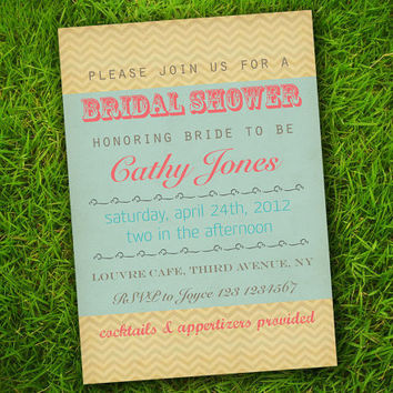 DIY Printable - Vintage Turquoise Pink Chevron ZigZag Customizable Bridal Shower Invitation Card