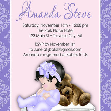 Pillow Girl Baby Shower Invitation -  Unique DIY Printable Digital