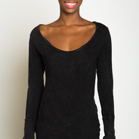 Black Long Sleeve Scoop Neck Tee with Thumbholes - LVR