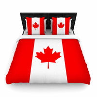 "Bruce Stanfield ""Flag of Canada"" Red White Woven Duvet Cover"