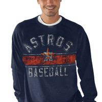 Houston Astros Crossover Crewneck Sweatshirt - Navy Blue
