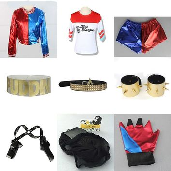 Suicide Squad Harley Quinn Cosplay Costume accessories Collar Bracelet Belt Golve T-shirt Coat Jacket suits fancy ball party