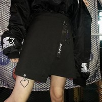 Japanese Harajuku High Waist Heart Pendant Gothic Punk Black Skirt