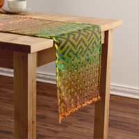 African Royalty Tribal Abstract Art Short Table Runner