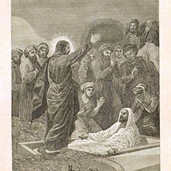 "Half Hours with the Servants of God - ""CHRIST RAISING LAZARUS"" - Engraving - 1891"