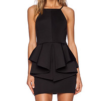 OH MY LOVE Peplum Mini Dress in Black