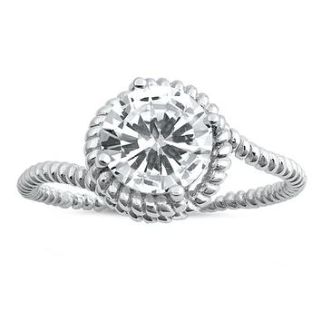 A Flawless 1.8CT Round Cut Russian Lab Diamond Engagement Ring