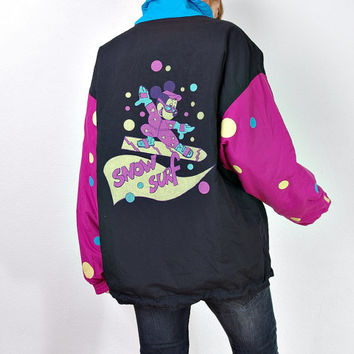 90s CAPRIOLE by Golden Team Snow Surf Jacket. Mickey Mouse Print. Made in Austria. Size M
