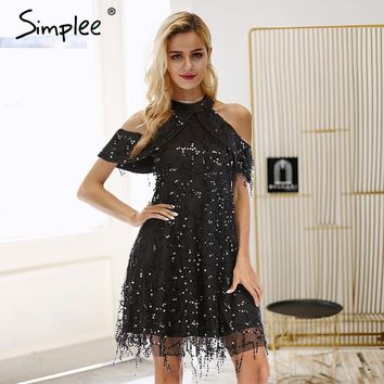 Simplee Sexy mesh cold shoulder sequin women party dresses Zipper stand collar petal sleeve fringe dress Elegant autumn vestidos