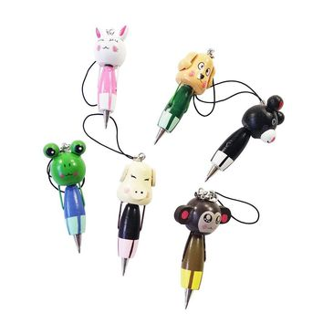 1Pcs/lot Party favours Students' gifts with lovely Designment Cute Cartoon Animal Wooden  Pendant Ball Point Pen For Kids