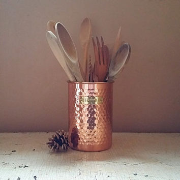 Mid Century Hand Hammered Copper Utensil Holder With Wood Utensi