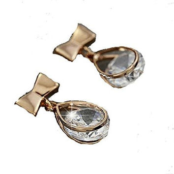 Basket Hill Watches and Gifts18k Gold Plated Bow, CZ Small Dangle Post Earrings