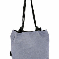 Lilac PURPLE VEGAN HANDBAG, Medium Size Purse with Braided Straps and Detachable case. Lightweight bag - Japanese Cube
