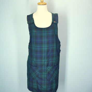 80s Green Plaid Jumper, Vintage Jumper Dress, 1980s Dress, Pockets Jumper, Size S