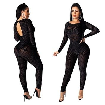 Women Sexy Sheer Mesh Black Long Sleeve Backless Jumpsuit