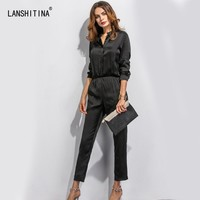 OL False 1 Piece Set Women Formal Jumpsuits Outfits Summer Casual Long Sleeve Pencil Solid Work Office Work Jumpsuits Overalls