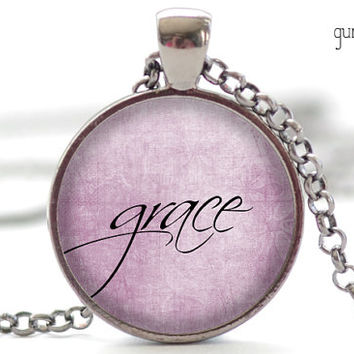 Grace Necklace, One Word Jewelry, Inspirational Charm, Pink Pendant, Your Choice of Finish (1919)