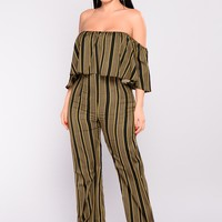 Josie Striped Jumpsuit - Olive
