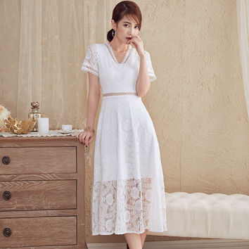 Summer New 2017 Lace Dresses for Women Long Midi Vestidos Lace Crochet Sweet Female Dress Women's Dress White Party Clothes