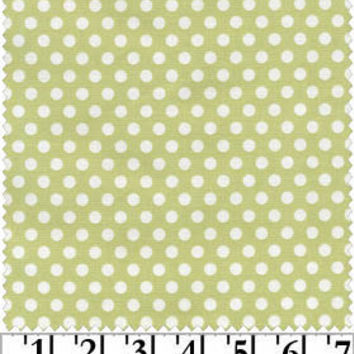 Rhapsody in Bloom - Dots - Olive Green - Maywood Studio - Designer Cotton Quilt Fabric - Polka Dots, Green, White