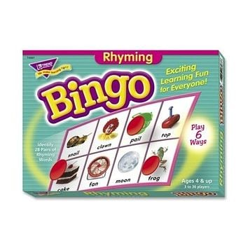 Trend Enterprises Rhyming Bingo Game,Includes 36 Playing Cards/Over200 Chips Case Pack 3