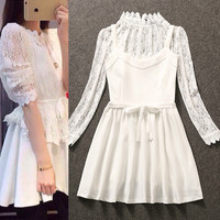 White High Neck Mesh Lace Layered Mini Dress