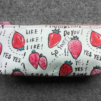 Cute fruit pencil case - strawberry