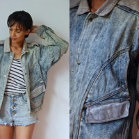 Vtg Men's Acid Wash Corduroy Trim Button Up Denim Jacket