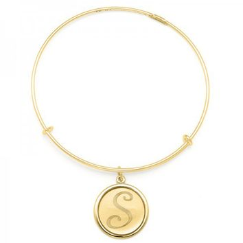 Alex and Ani Precious Initial S Charm Bangle - 14kt Gold Filled