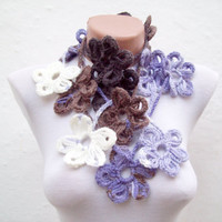 Handmade crochet Lariat Scarf Lilac Brown Purple White Flower Lariat Scarf Colorful Variegated Long Necklace Winter Fashion