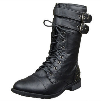 Womens Ankle Boots Buckle Accent Studs Lace Up Combat Boots Black SZ