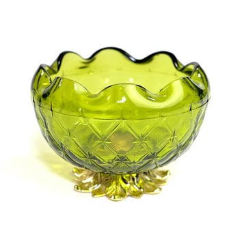 Green Pedestal Bowl by Indiana Glass, Duette Pattern - Gold Tone Cast Metal Footed Base, Ruffle Scalloped Trim - Vintage Retro Home Decor