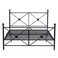 Queen Size Black Metal Platform Bed Frame With Headboard & Footboard