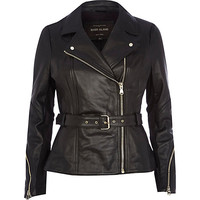 River Island Womens Black leather peplum jacket