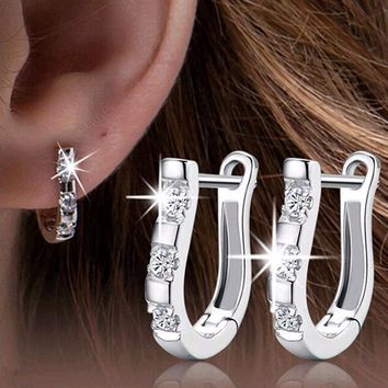 1Pair 925 Sterling Silver Nice White Crystal Silver Brincos Ouro Women's Earrings For Women Earring Jewelry 2016