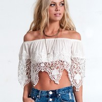 OFF SHOULDER CROCHET CROP TOP