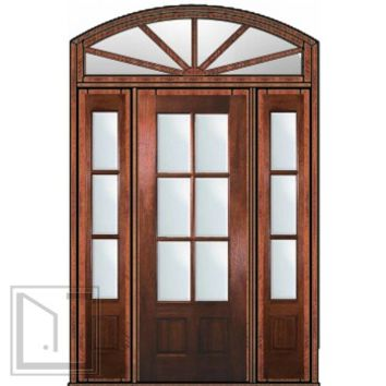 Prehung French Sidelights-Transom Door 96 Mahogany 3/4 Lite 6 Lite