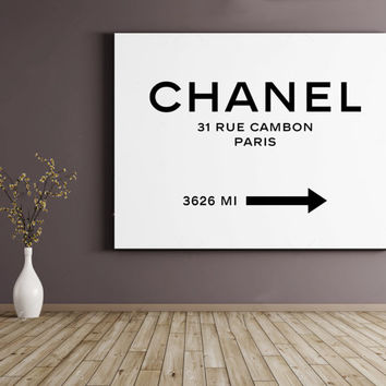 Chanel Art Print Chanel Logo Chanel Gift Black White Wall Art Black White  Decor Coco Chanel