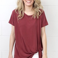 Get Twisted Comfy Short Sleeve Basic {Burgundy}