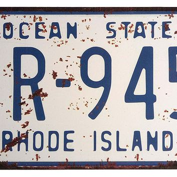 ERLOOD RHODE ISLAND IR-945 Ocean State, United States,Retro Vintage Auto License Plate Tin Sign Embossed Tag Size Home Pub Bar Decor 6 X 12