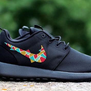 Custom Nike Roshe Run sneakers, black on black, triangles pattern, squares, tribal pat