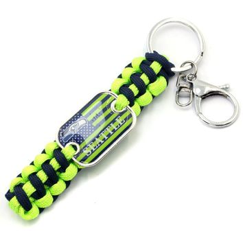 Fashion Seattle Seahawks Flag Survival Paracord Keychain For USA Football Team Logo Paracord Keychain DIY Sports Fans Jewelry