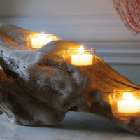Three Candle Driftwood Votive Candle Holder
