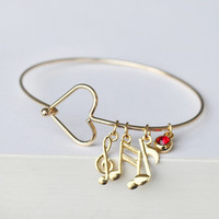 Music note bracelet, Treble Clef charm, birthstone bangle bracelet, Recital Gift, music, musician piano recital bridesmaid wedding jewelry