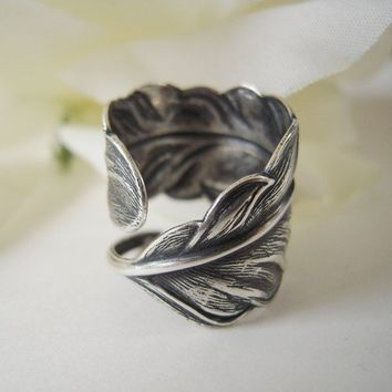 Steampunk Angel Feather Ring Sterling Silver Finish by bellamantra