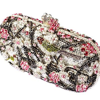 Flower and Bird Wedding Clutch Purse Bling Rhinestone Clutch Evening Bag